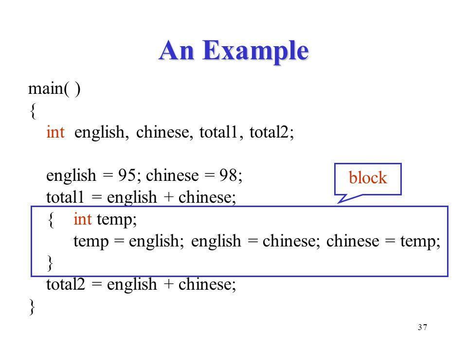 An Example main( ) { int english, chinese, total1, total2;