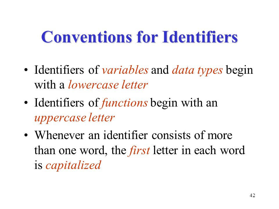 Conventions for Identifiers
