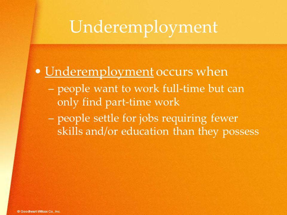 Underemployment Underemployment occurs when
