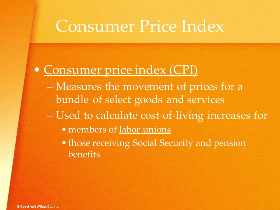 Consumer Price Index Consumer price index (CPI)