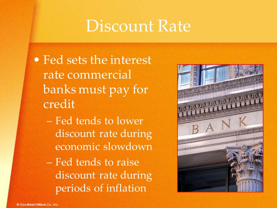 Discount Rate Fed sets the interest rate commercial banks must pay for credit. Fed tends to lower discount rate during economic slowdown.