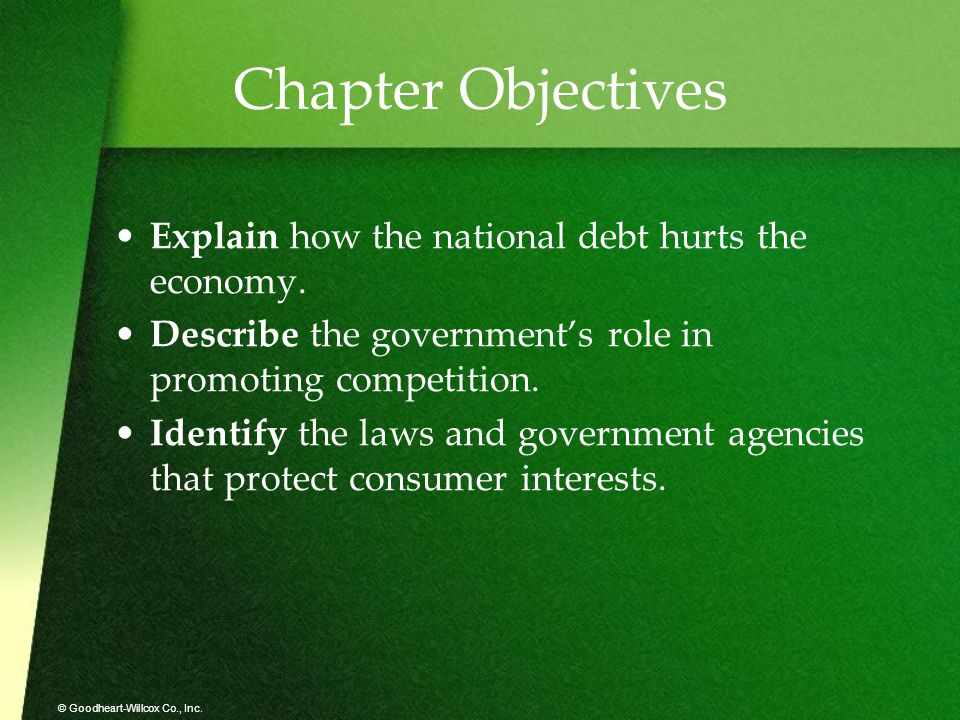 Chapter Objectives Explain how the national debt hurts the economy.
