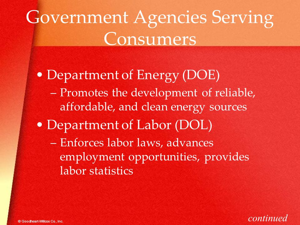 Government Agencies Serving Consumers