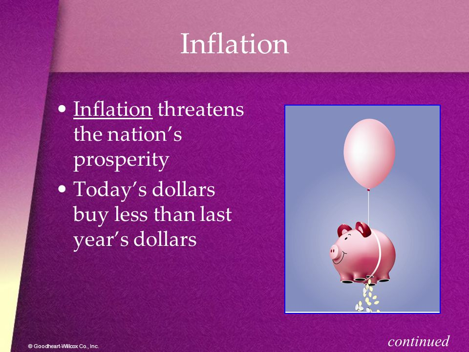 Inflation Inflation threatens the nation's prosperity