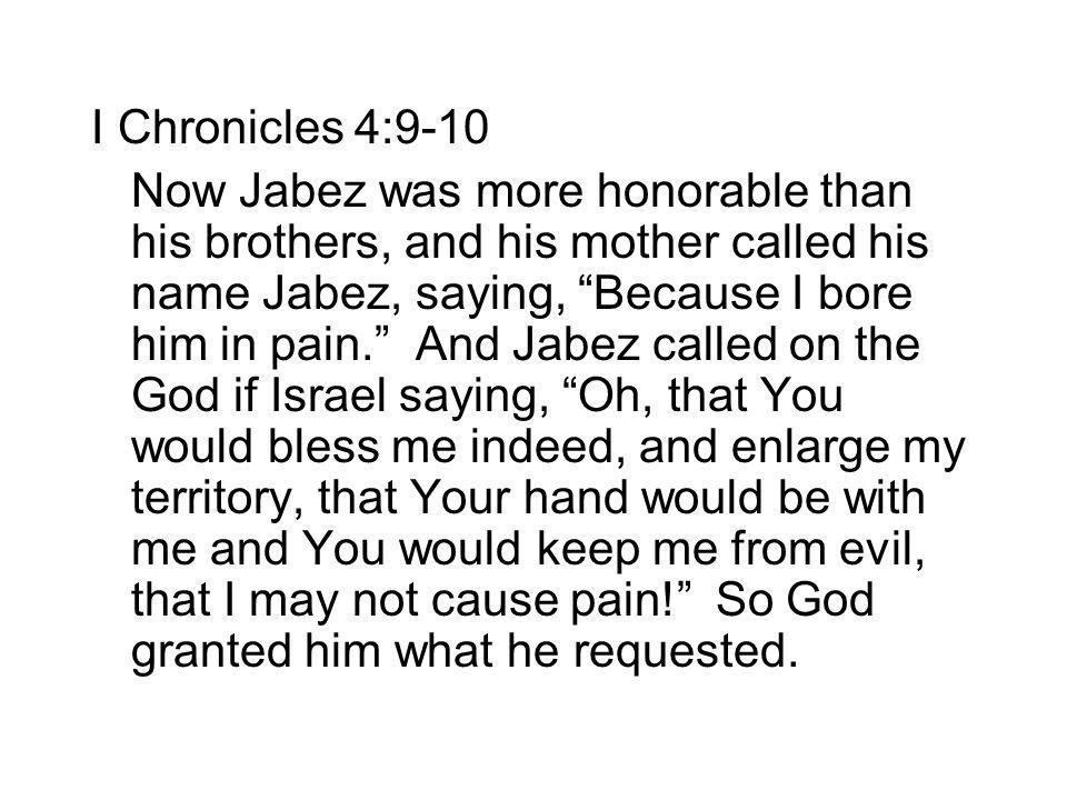 I Chronicles 4:9-10