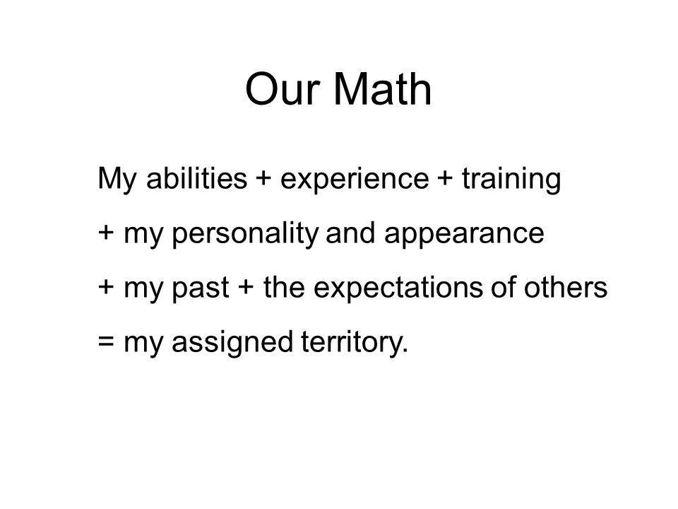 Our Math My abilities + experience + training