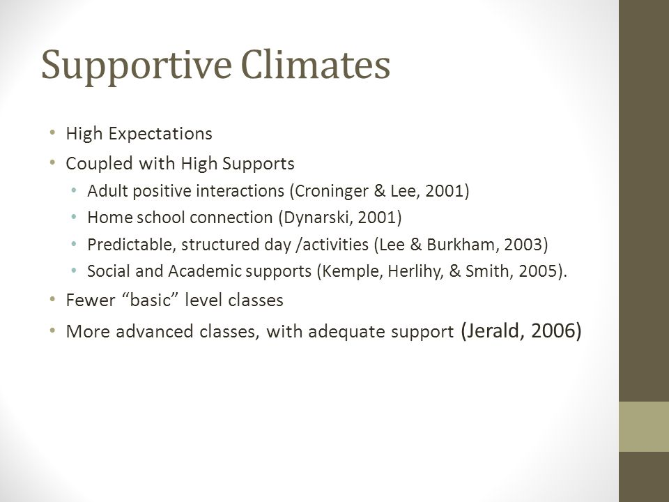 Supportive Climates High Expectations Coupled with High Supports