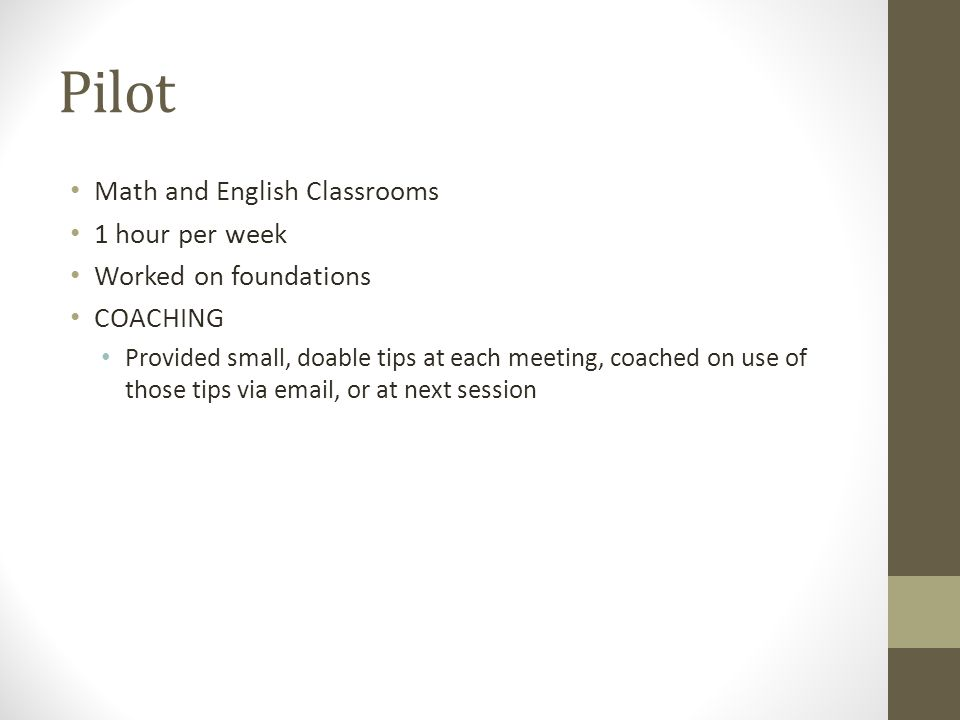 Pilot Math and English Classrooms 1 hour per week