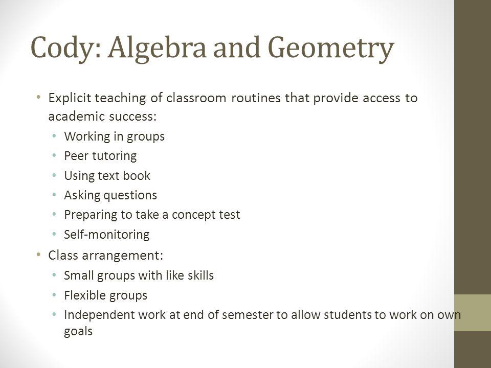 Cody: Algebra and Geometry