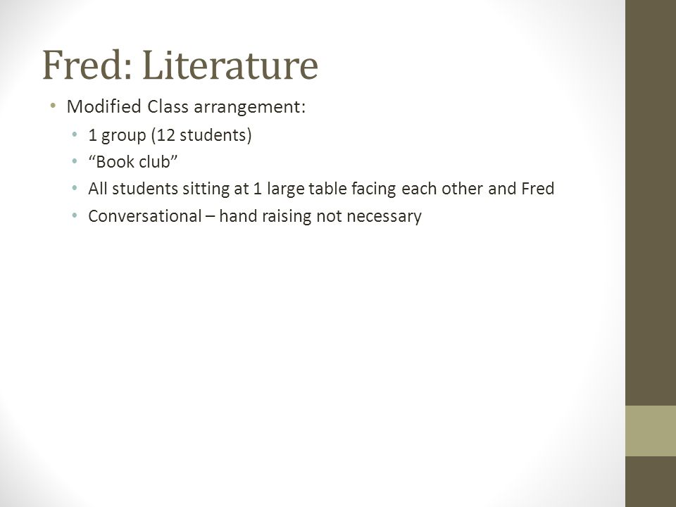 Fred: Literature Modified Class arrangement: 1 group (12 students)