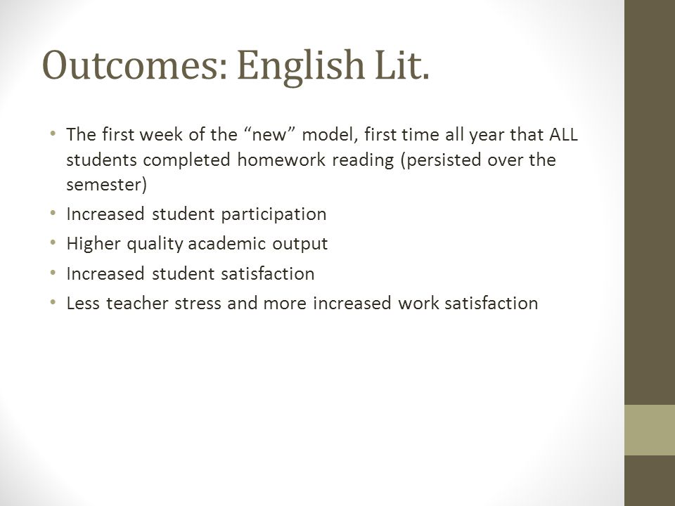 Outcomes: English Lit.