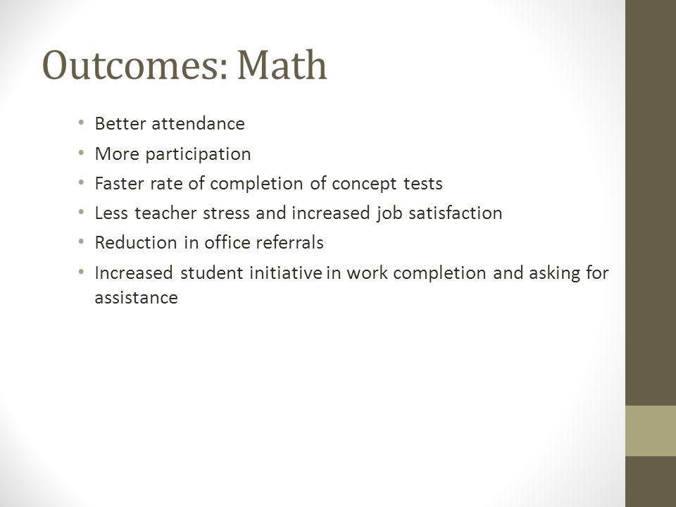 Outcomes: Math Better attendance More participation