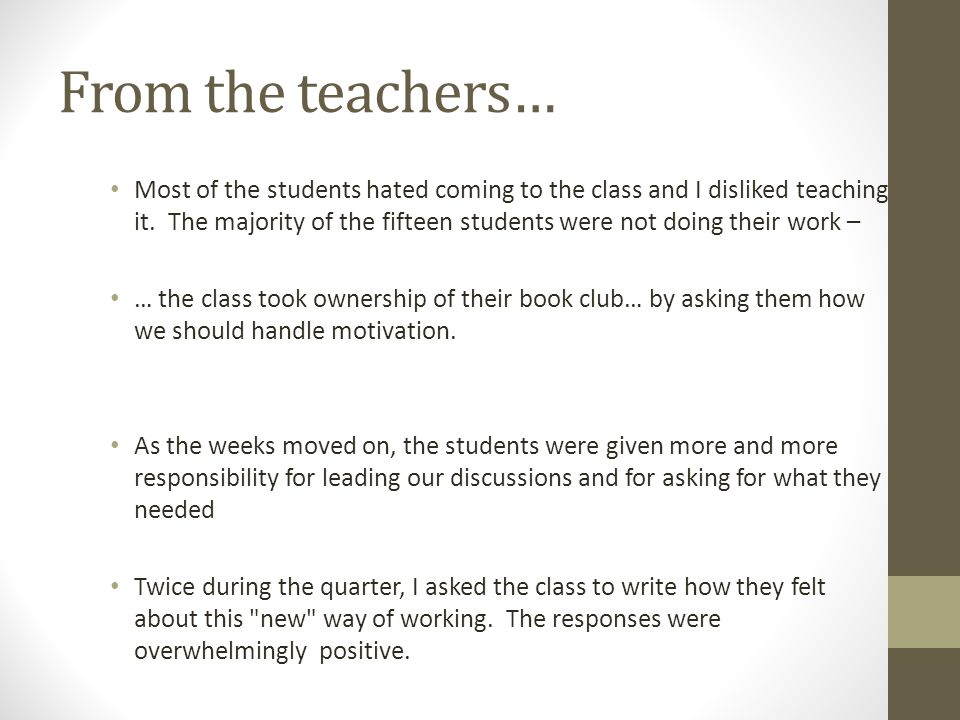 From the teachers…