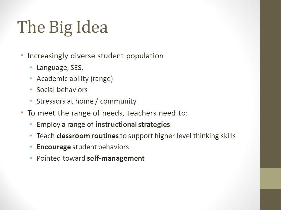 The Big Idea Increasingly diverse student population