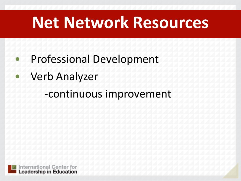 Net Network Resources Professional Development Verb Analyzer