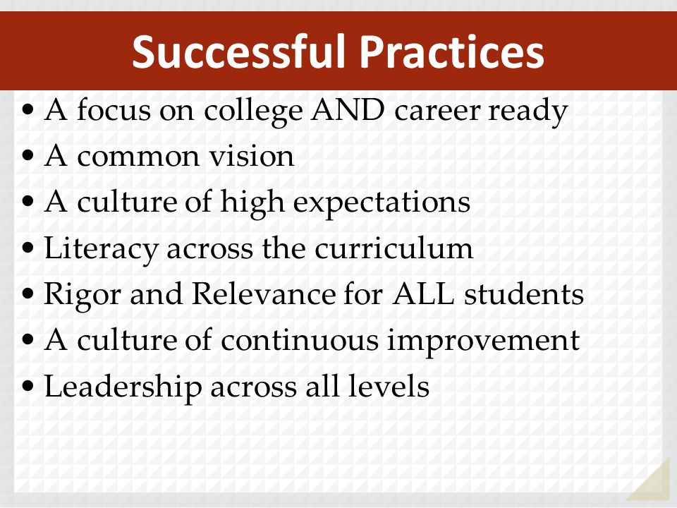 Successful Practices A focus on college AND career ready