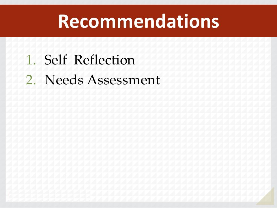 Recommendations Self Reflection Needs Assessment