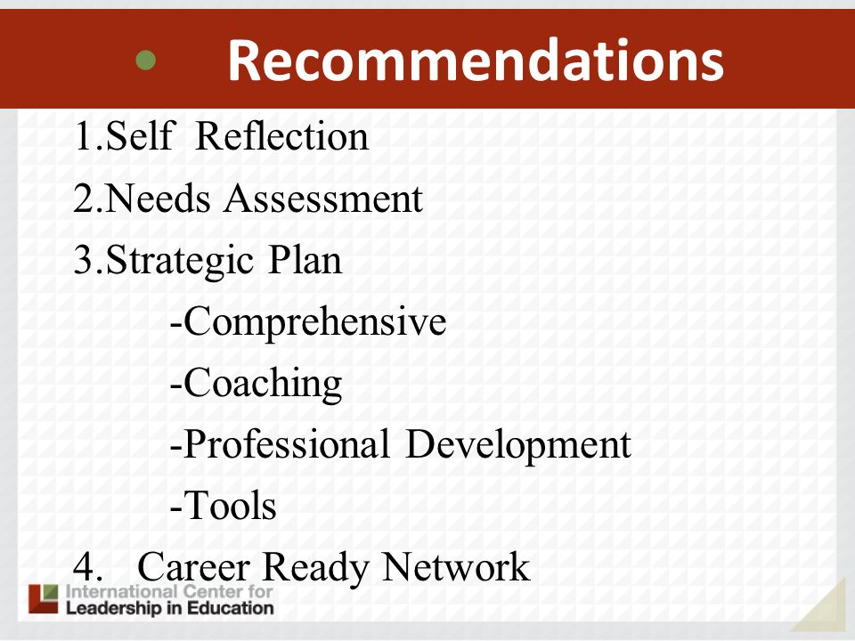 Recommendations Self Reflection Needs Assessment Strategic Plan