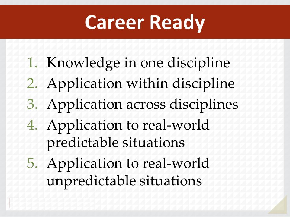 Career Ready Knowledge in one discipline Application within discipline
