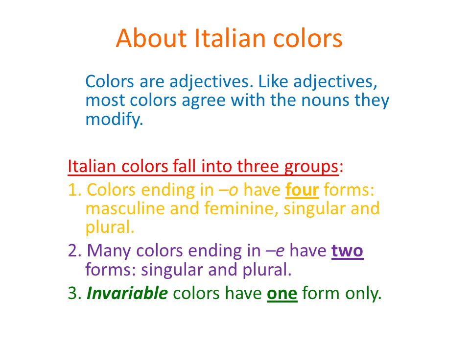 About Italian colors