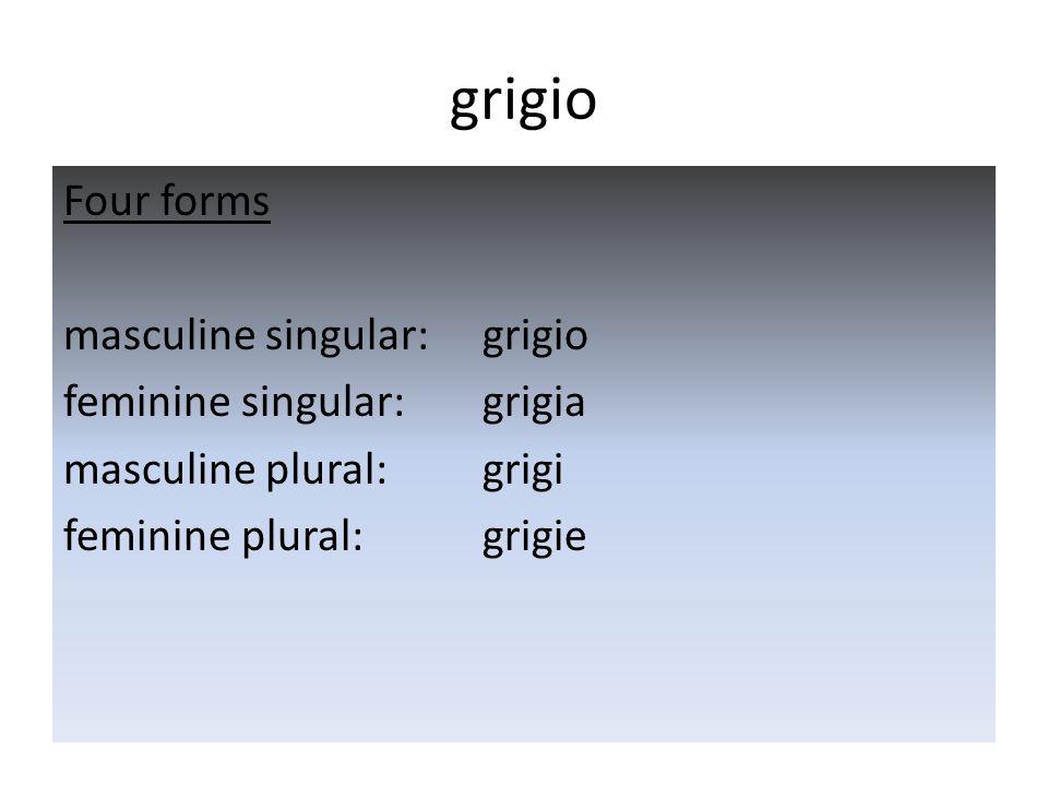 grigio Four forms masculine singular: grigio feminine singular: grigia masculine plural: grigi feminine plural: grigie