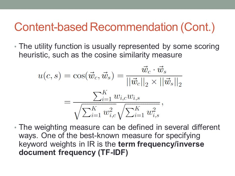 Content-based Recommendation (Cont.)