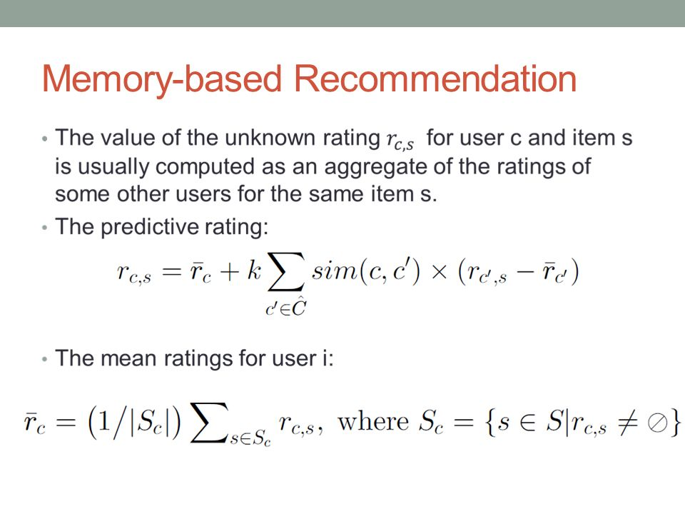 Memory-based Recommendation