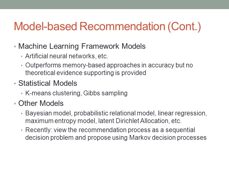 Model-based Recommendation (Cont.)