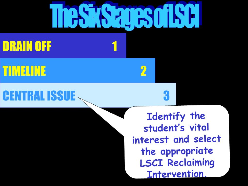The Six Stages of LSCI DRAIN OFF 1 TIMELINE 2 CENTRAL ISSUE 3