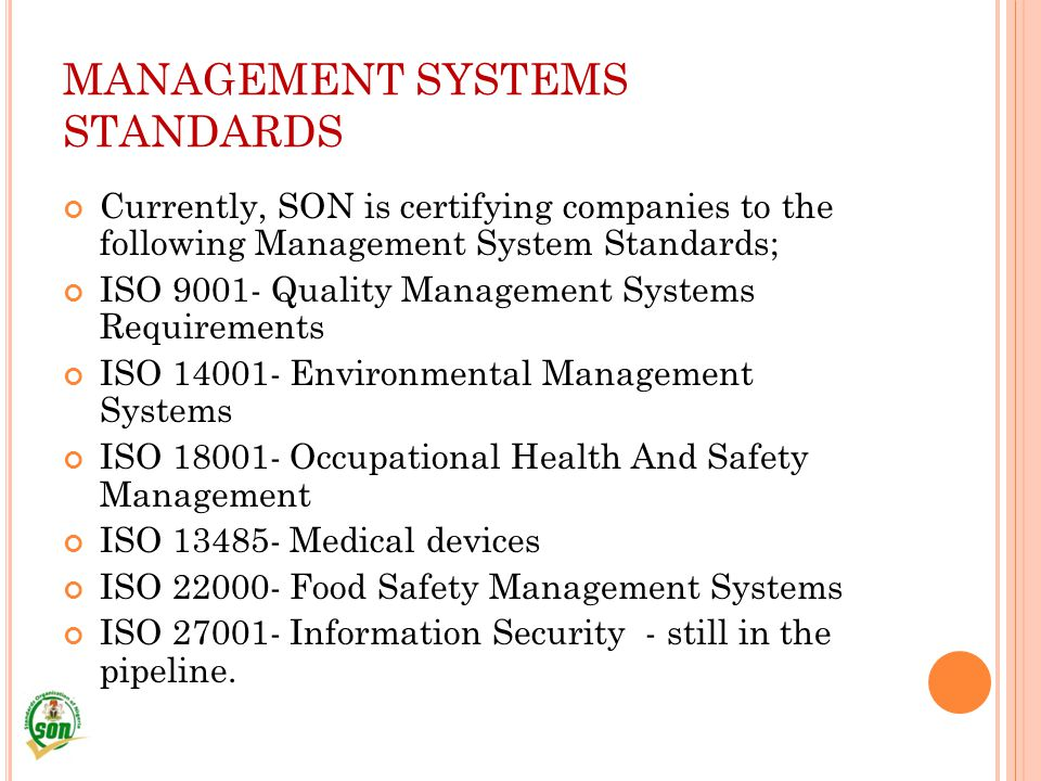 MANAGEMENT SYSTEMS STANDARDS
