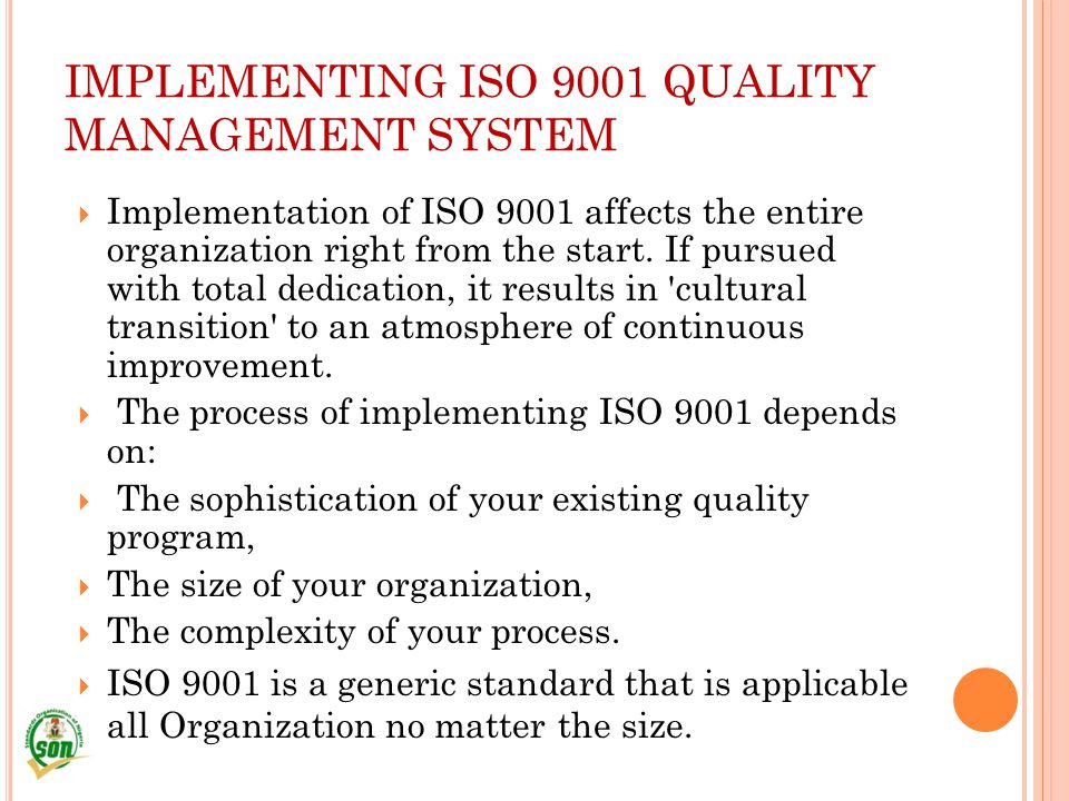 IMPLEMENTING ISO 9001 QUALITY MANAGEMENT SYSTEM