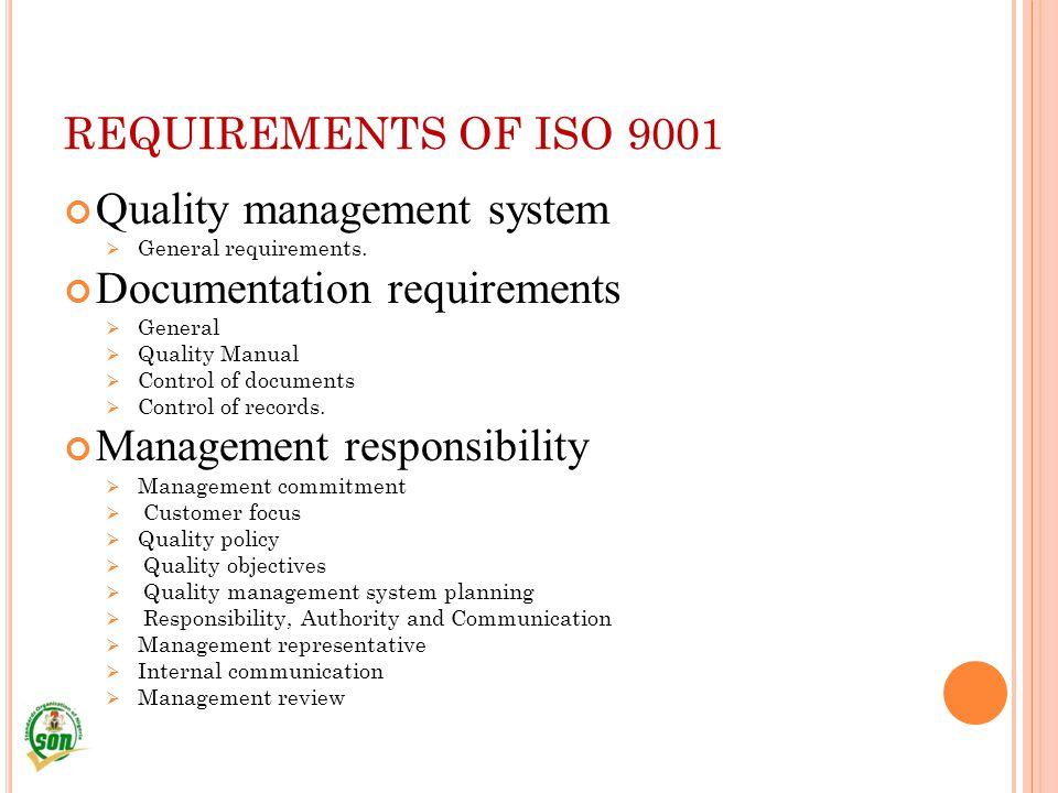 Quality management system Documentation requirements
