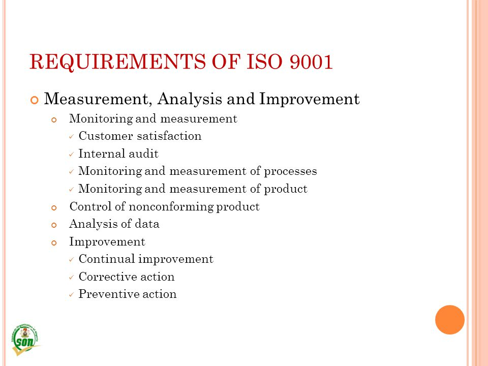 REQUIREMENTS OF ISO 9001 Measurement, Analysis and Improvement