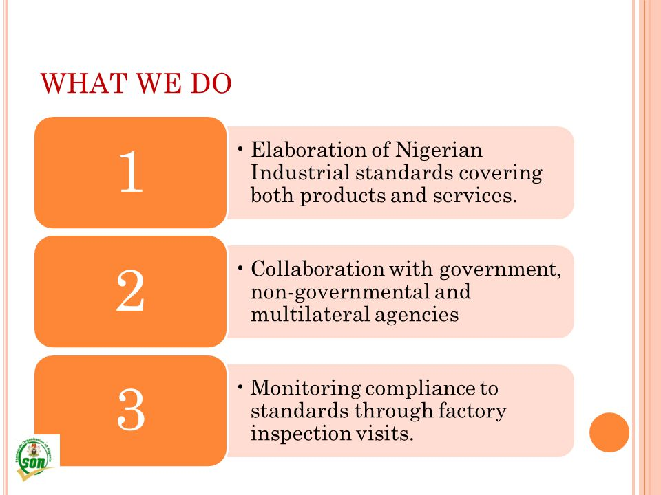 WHAT WE DO Elaboration of Nigerian Industrial standards covering both products and services. 1.