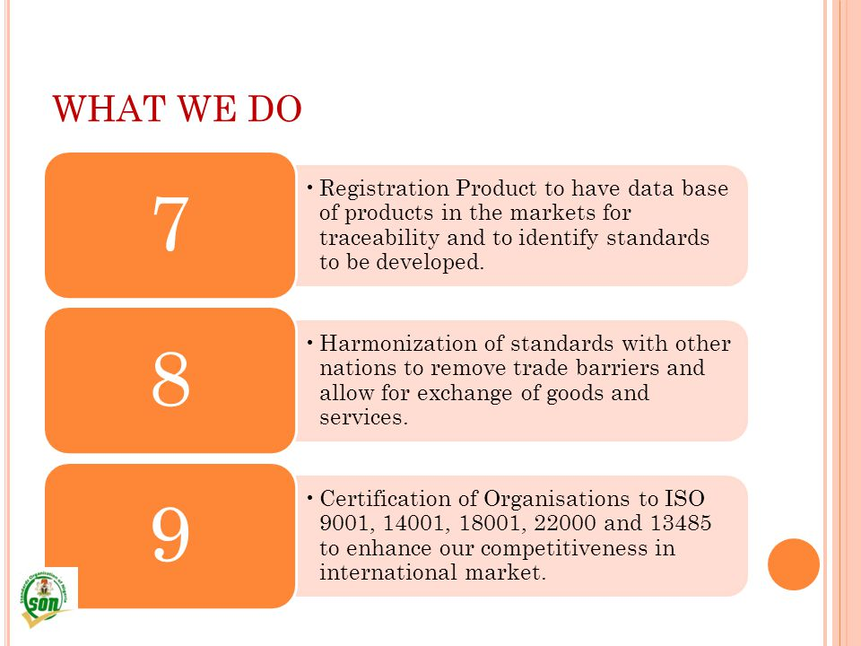 WHAT WE DO Registration Product to have data base of products in the markets for traceability and to identify standards to be developed.