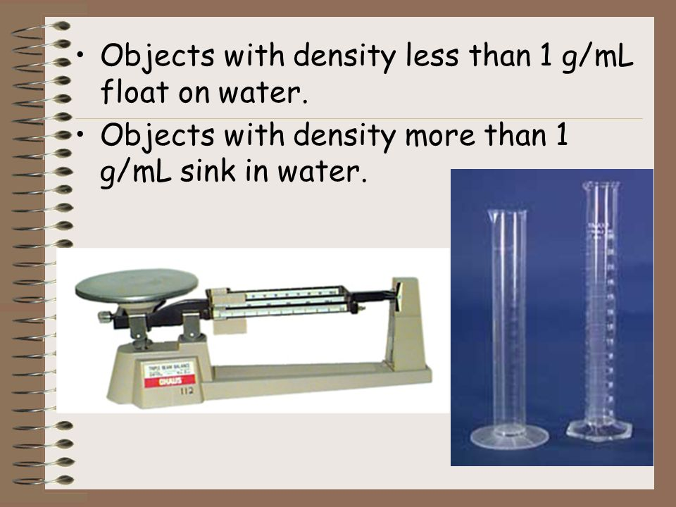 Objects with density less than 1 g/mL float on water.