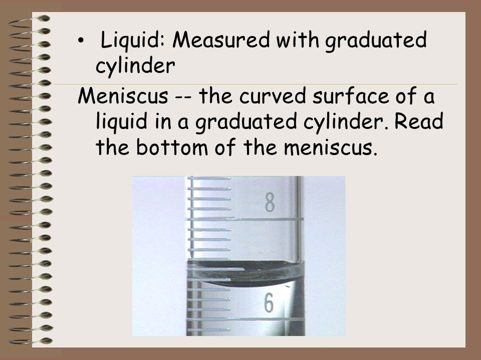 Liquid: Measured with graduated cylinder