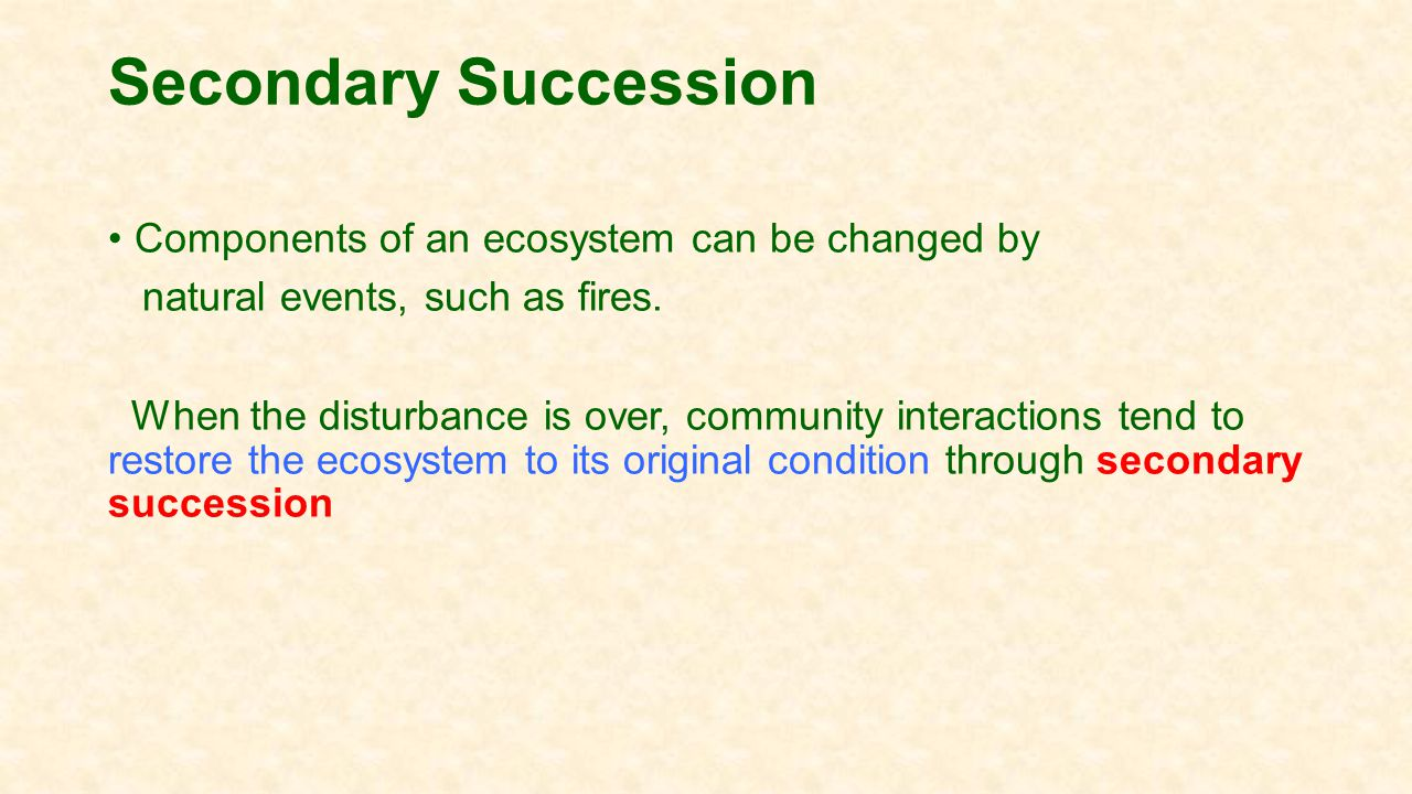 Secondary Succession Components of an ecosystem can be changed by