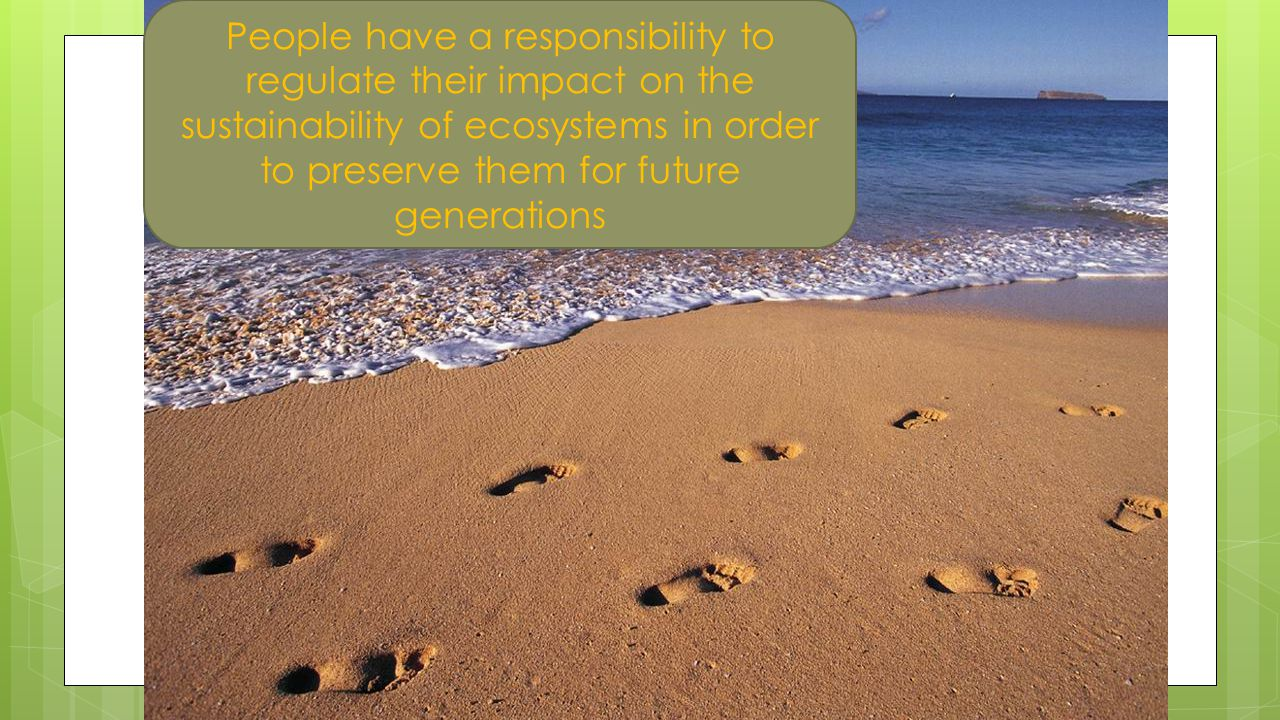 People have a responsibility to regulate their impact on the sustainability of ecosystems in order to preserve them for future generations