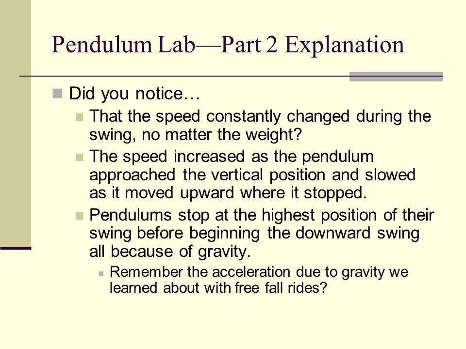 Pendulum Lab—Part 2 Explanation