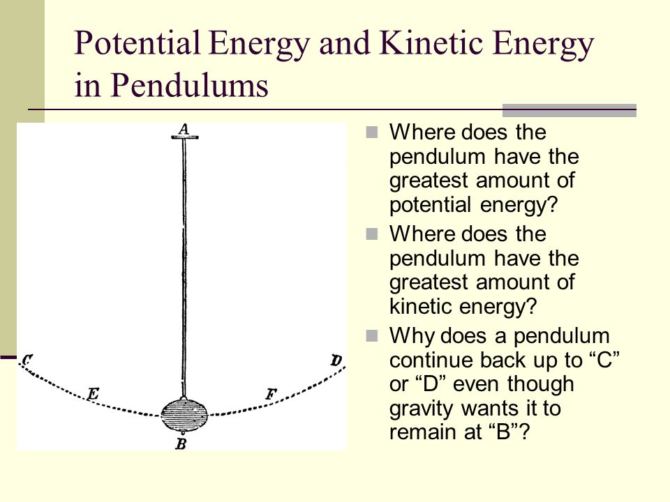 Potential Energy and Kinetic Energy in Pendulums