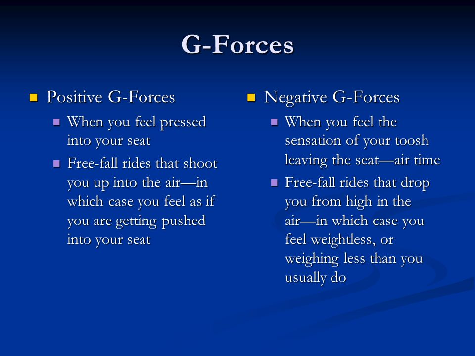 G-Forces Positive G-Forces Negative G-Forces