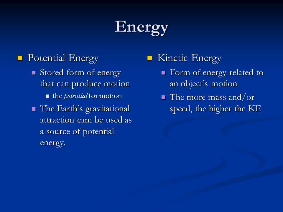 Energy Potential Energy Kinetic Energy