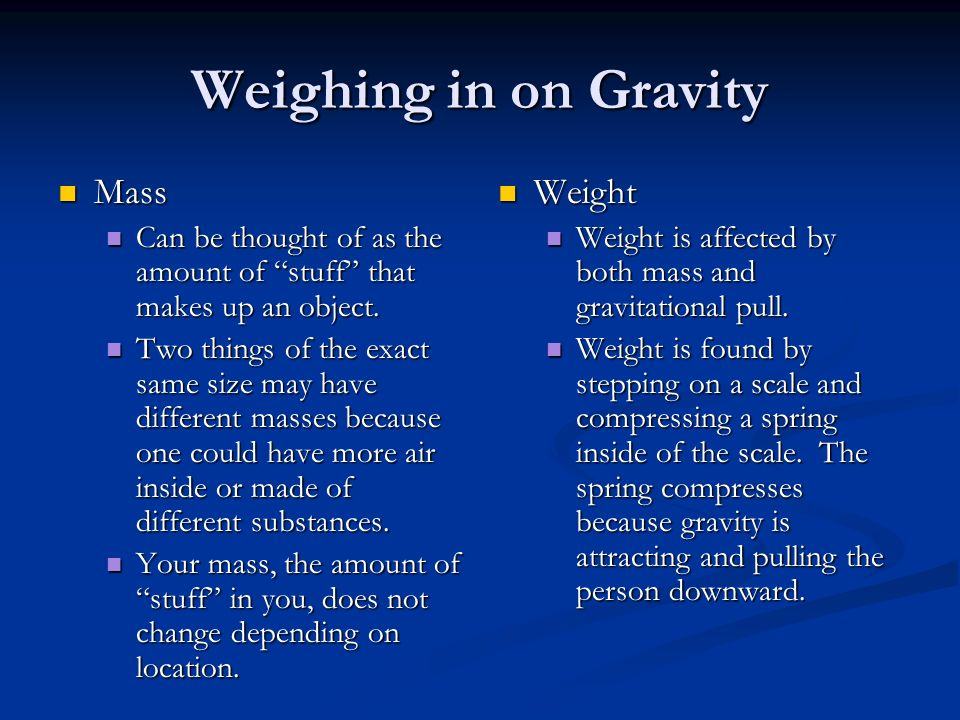 Weighing in on Gravity Mass Weight