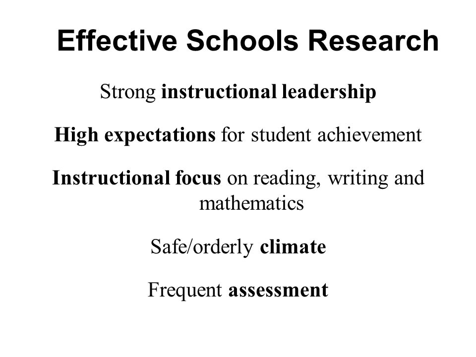 Effective Schools Research