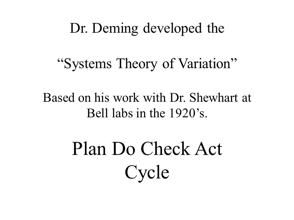 Plan Do Check Act Cycle Dr. Deming developed the