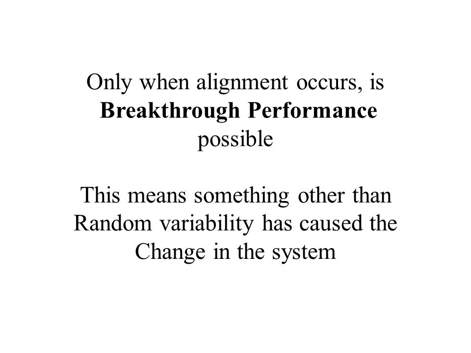 Only when alignment occurs, is Breakthrough Performance possible