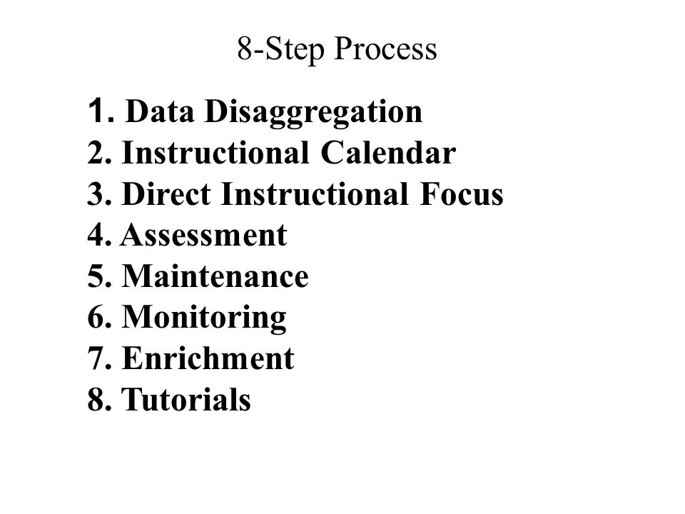 8-Step Process Data Disaggregation. 2. Instructional Calendar. 3. Direct Instructional Focus. 4. Assessment.