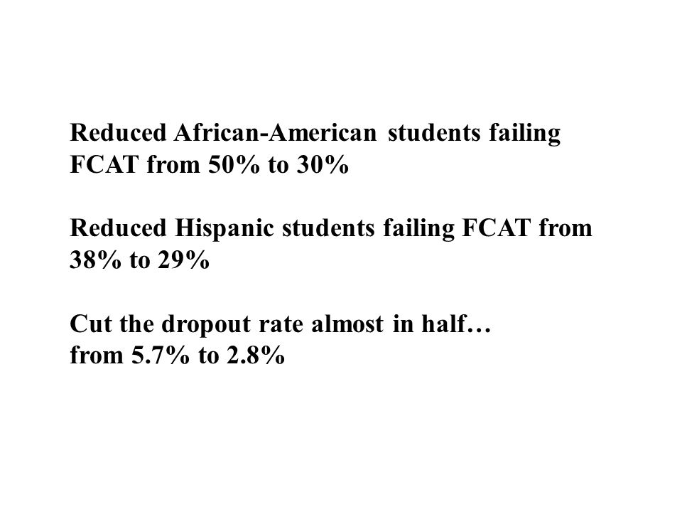 Reduced African-American students failing FCAT from 50% to 30%