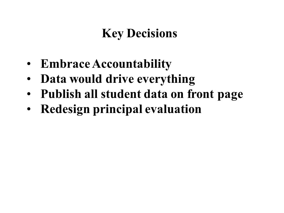 Key Decisions Embrace Accountability. Data would drive everything. Publish all student data on front page.